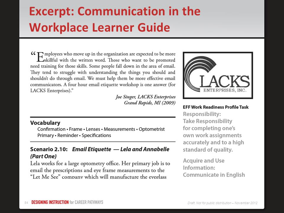 Excerpt: Communication in the Workplace Learner Guide