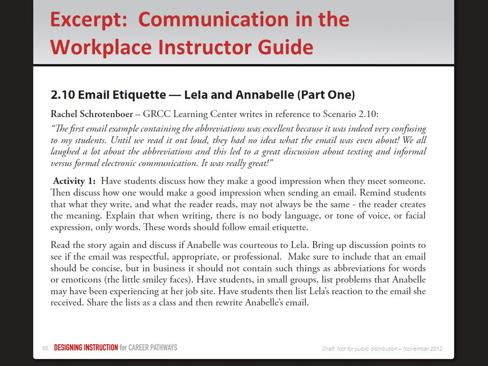 Excerpt: Communication in the Workplace Instructor Guide