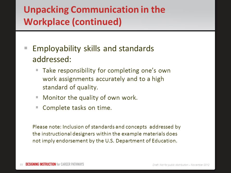Unpacking Communication in the Workplace (continued)