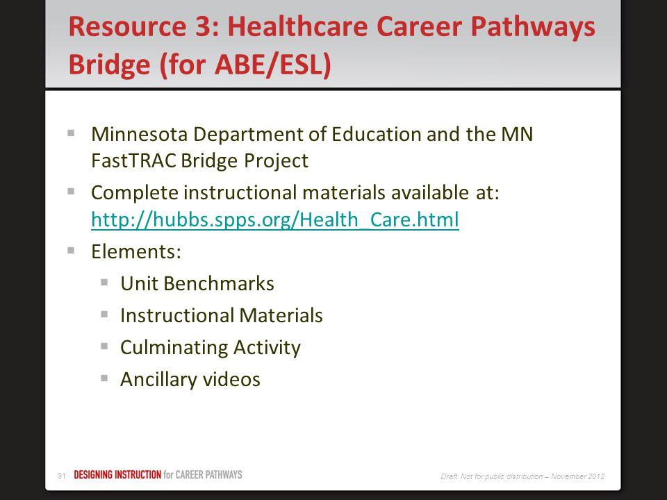 Resource 3: Healthcare Career Pathways Bridge (for ABE/ESL)