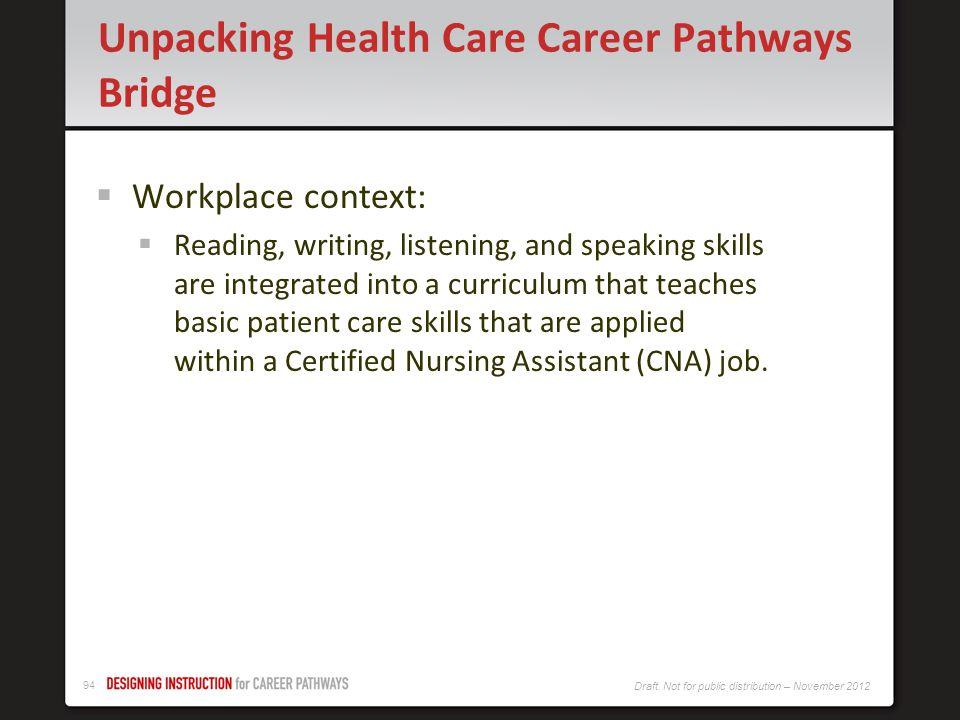 Unpacking Health Care Career Pathways Bridge
