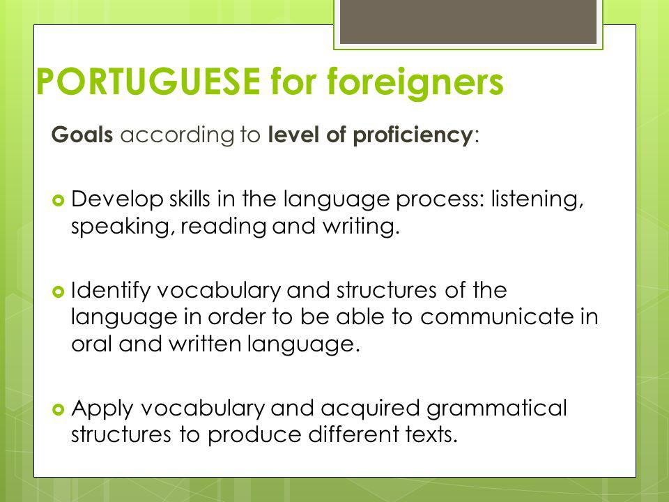 PORTUGUESE for foreigners