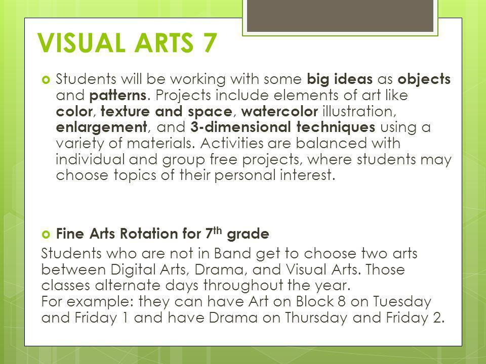 VISUAL ARTS 7