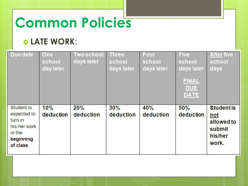 Common Policies LATE WORK: