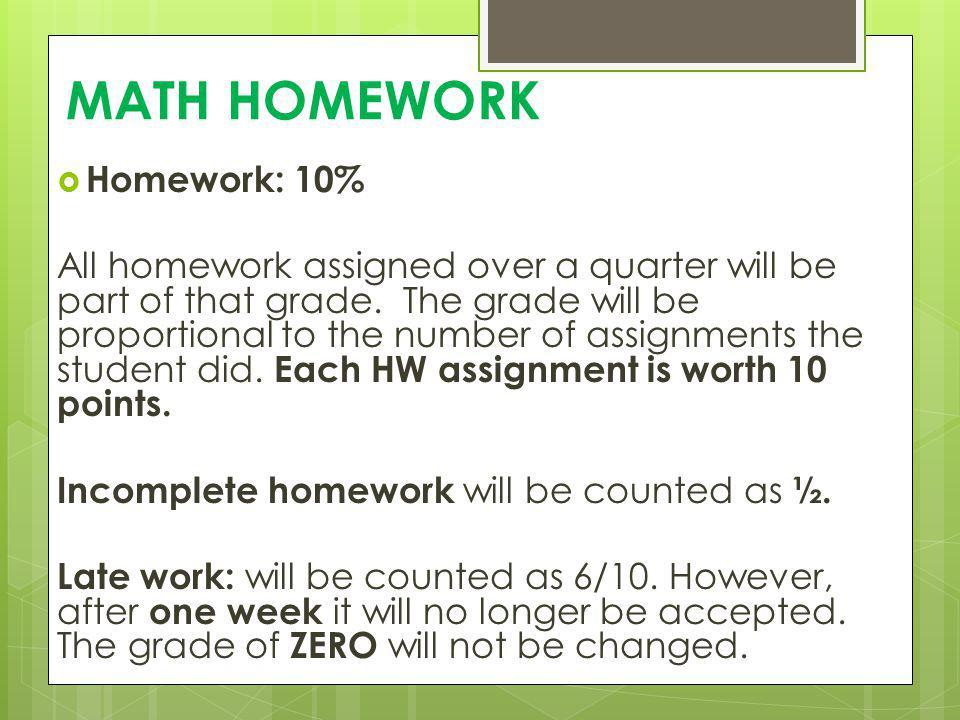 MATH HOMEWORK Homework: 10%