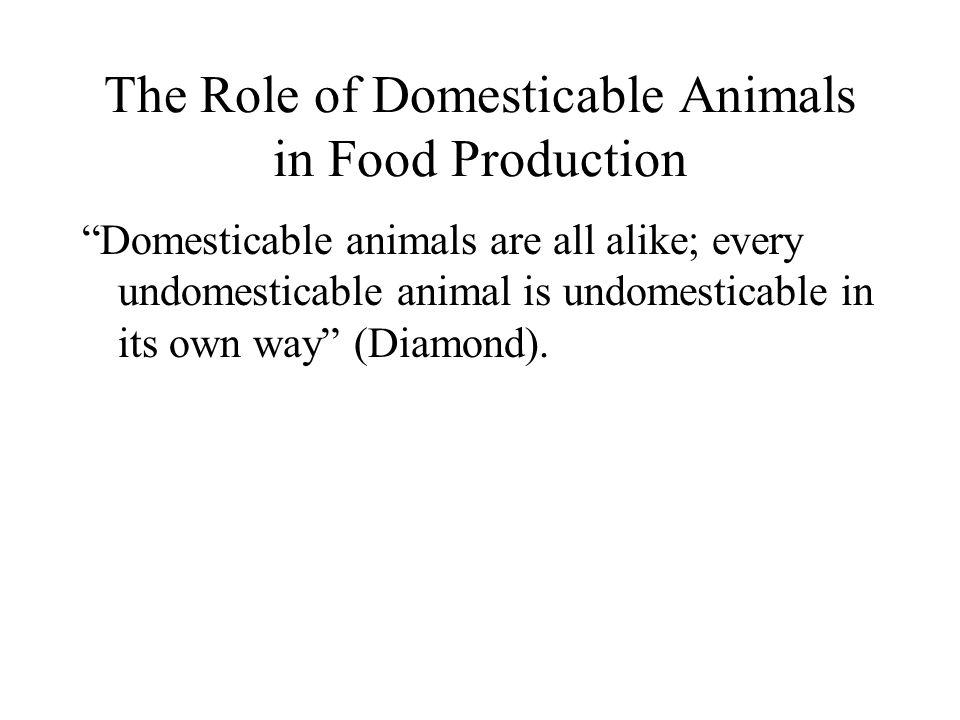 The Role of Domesticable Animals in Food Production