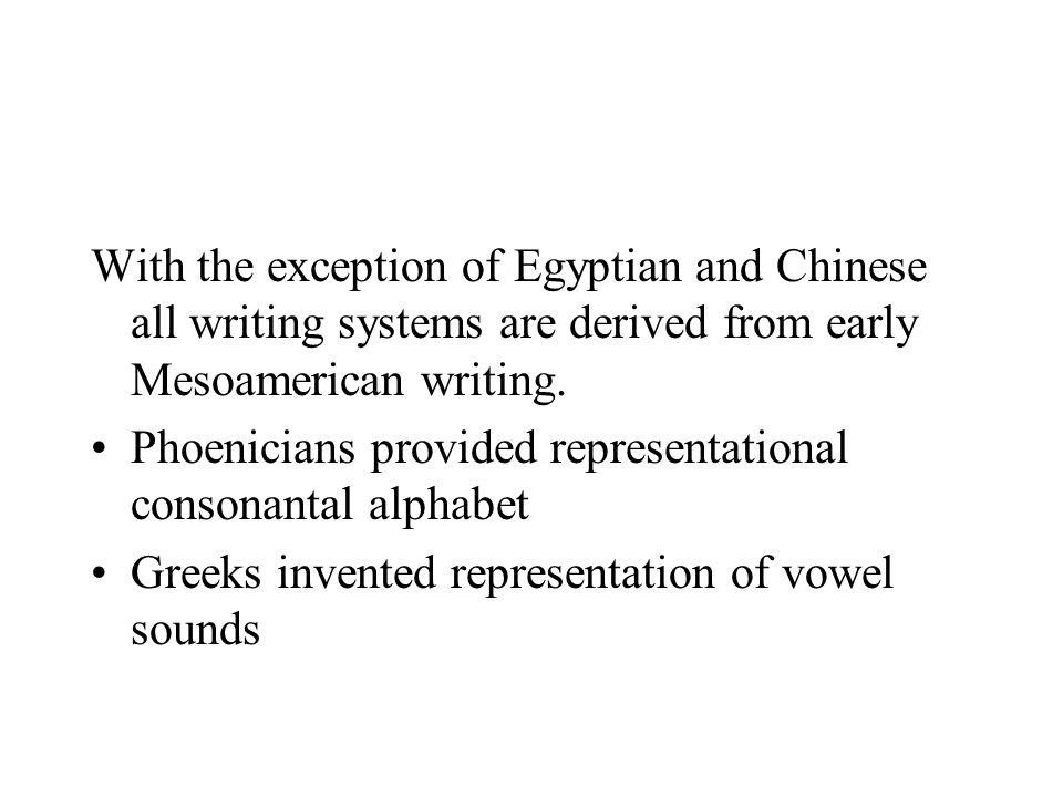 With the exception of Egyptian and Chinese all writing systems are derived from early Mesoamerican writing.