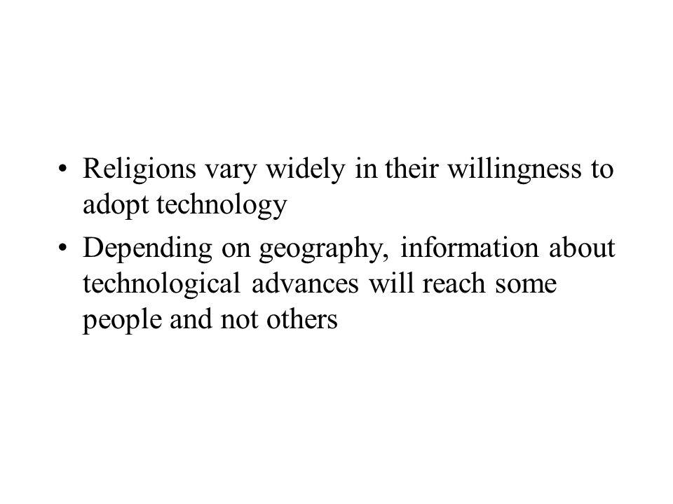 Religions vary widely in their willingness to adopt technology