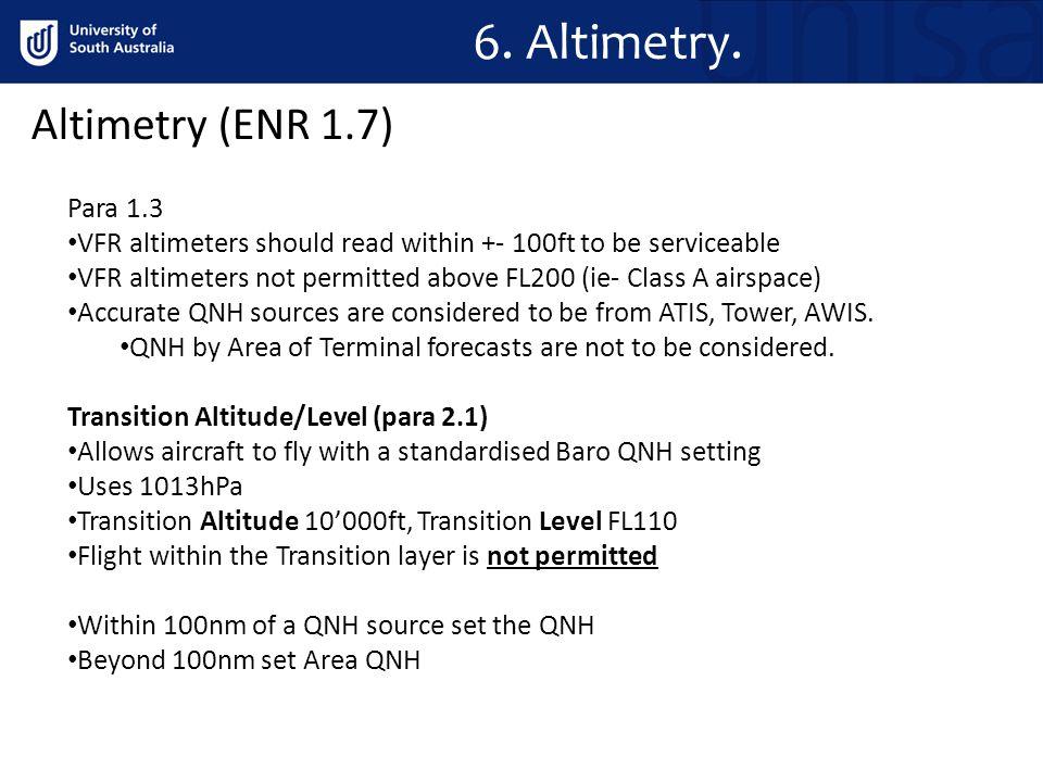 6. Altimetry. Altimetry (ENR 1.7) Para 1.3