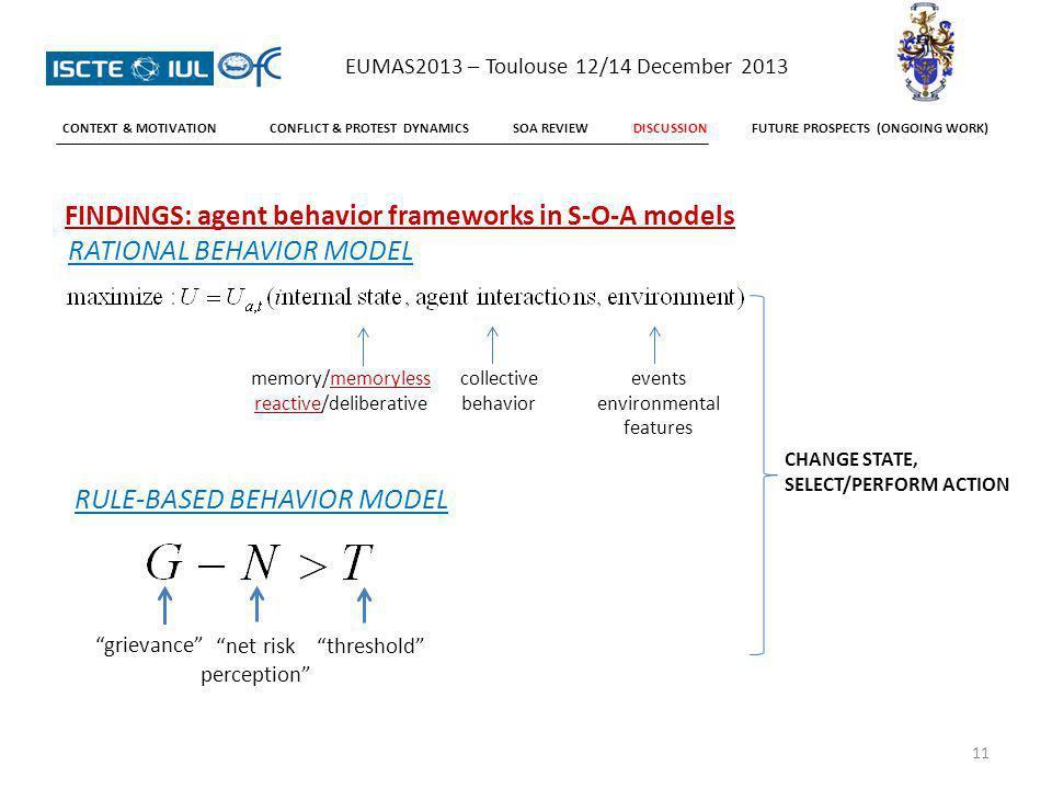 FINDINGS: agent behavior frameworks in S-O-A models