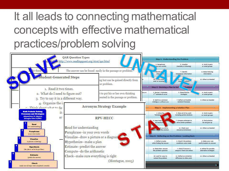 It all leads to connecting mathematical concepts with effective mathematical practices/problem solving