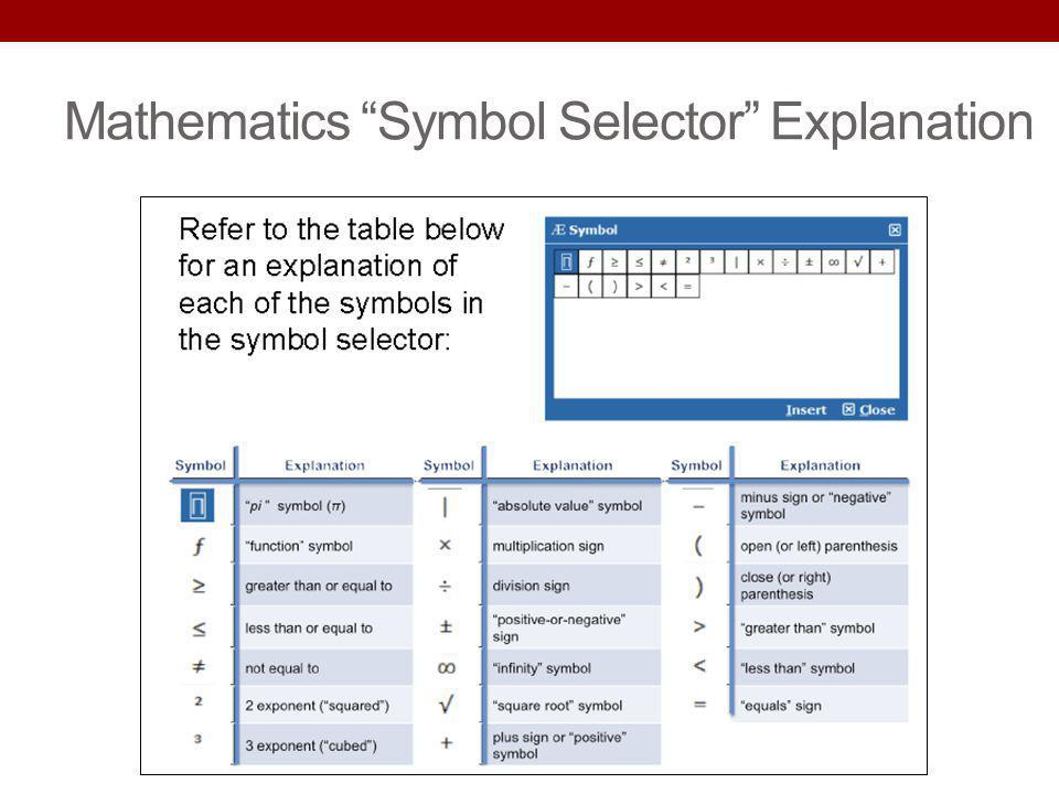 Mathematics Symbol Selector Explanation