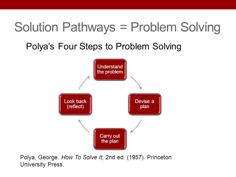 Solution Pathways = Problem Solving