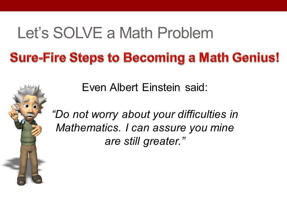 Let's SOLVE a Math Problem