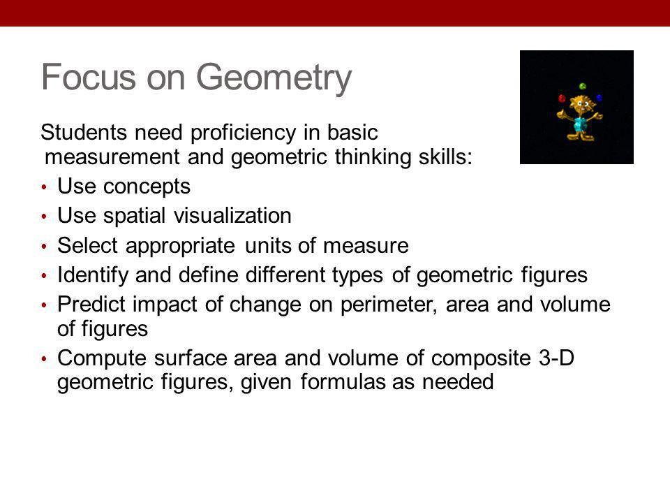 Focus on Geometry Students need proficiency in basic measurement and geometric thinking skills: