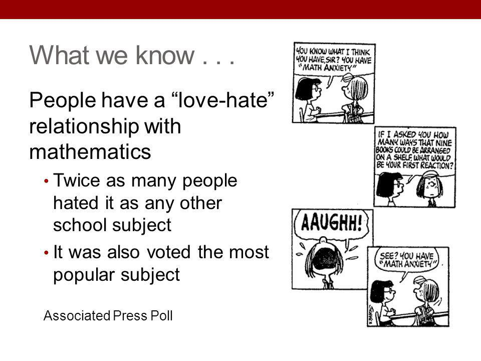 6/2013 What we know . . . People have a love-hate relationship with mathematics. Twice as many people hated it as any other school subject.