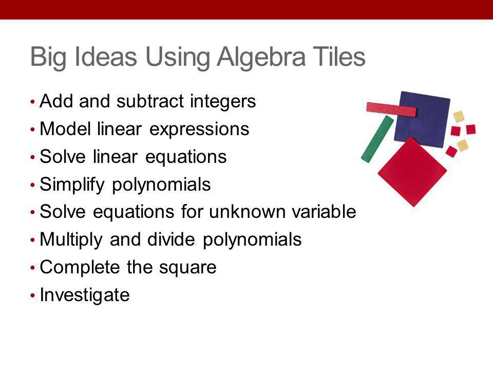 Big Ideas Using Algebra Tiles