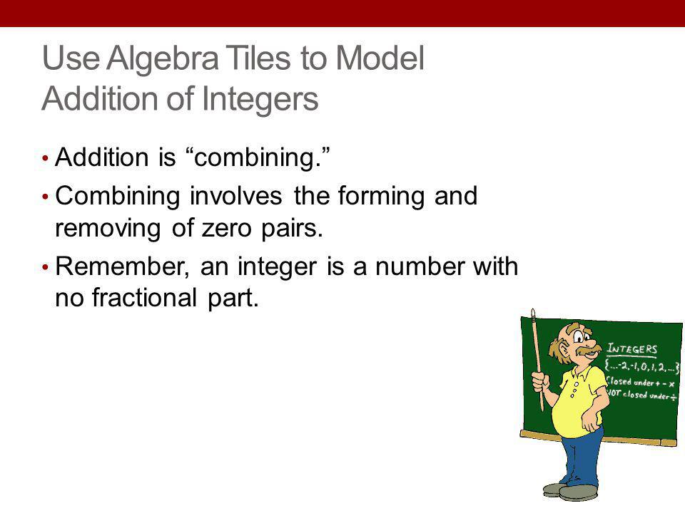 Use Algebra Tiles to Model Addition of Integers
