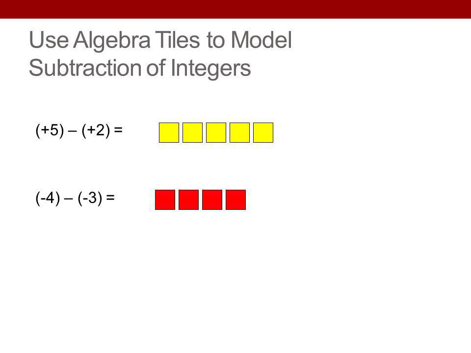 Use Algebra Tiles to Model Subtraction of Integers