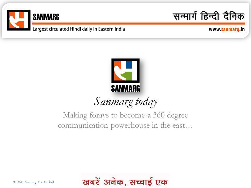 Sanmarg today Making forays to become a 360 degree communication powerhouse in the east…