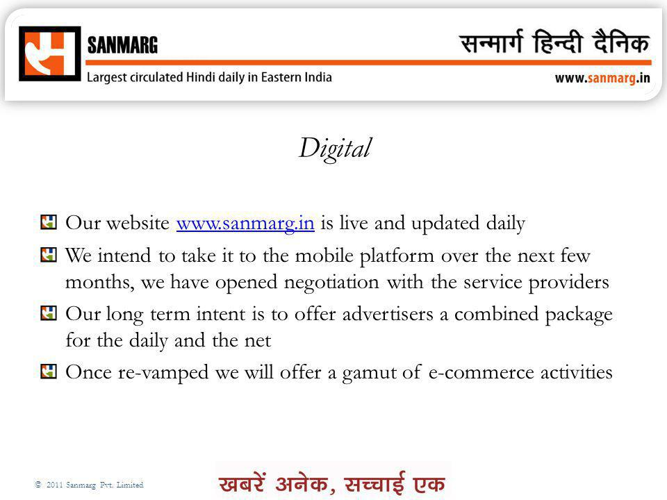 Digital Our website www.sanmarg.in is live and updated daily