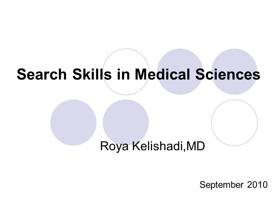 Search Skills in Medical Sciences