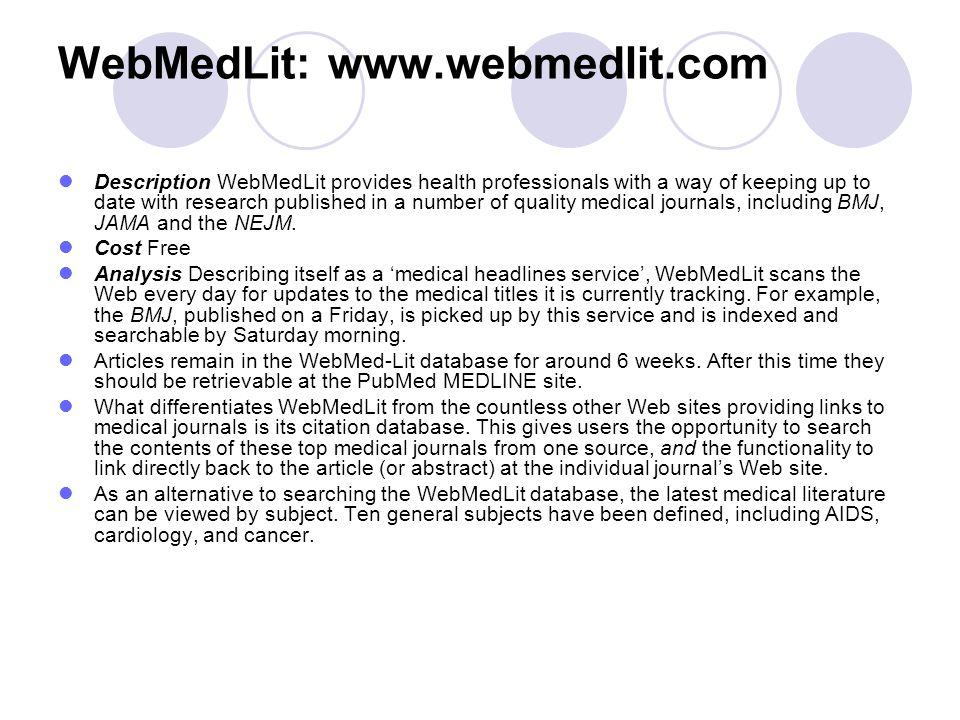 WebMedLit: www.webmedlit.com