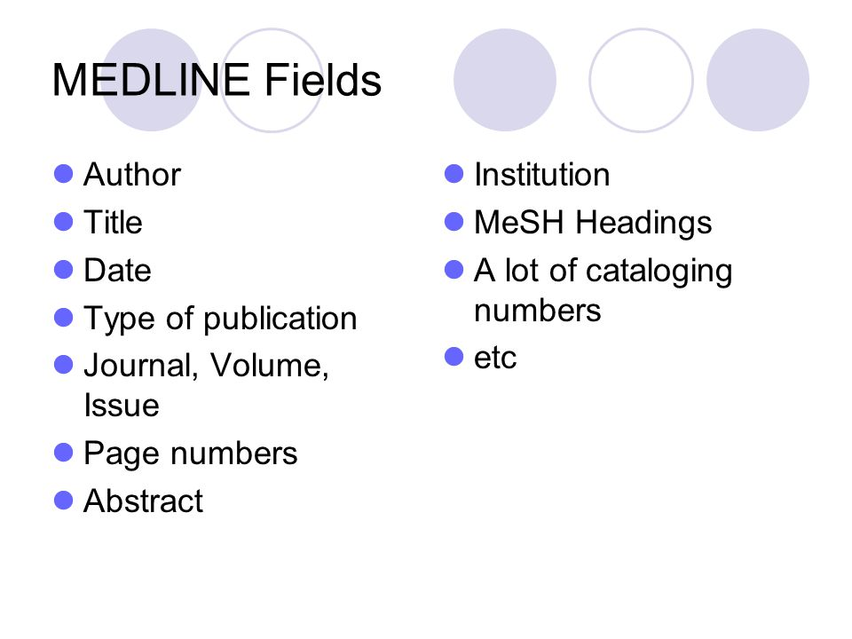 MEDLINE Fields Author Title Date Type of publication