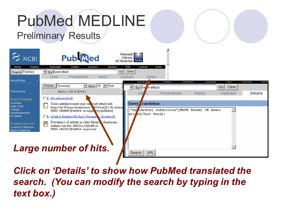 PubMed MEDLINE Preliminary Results