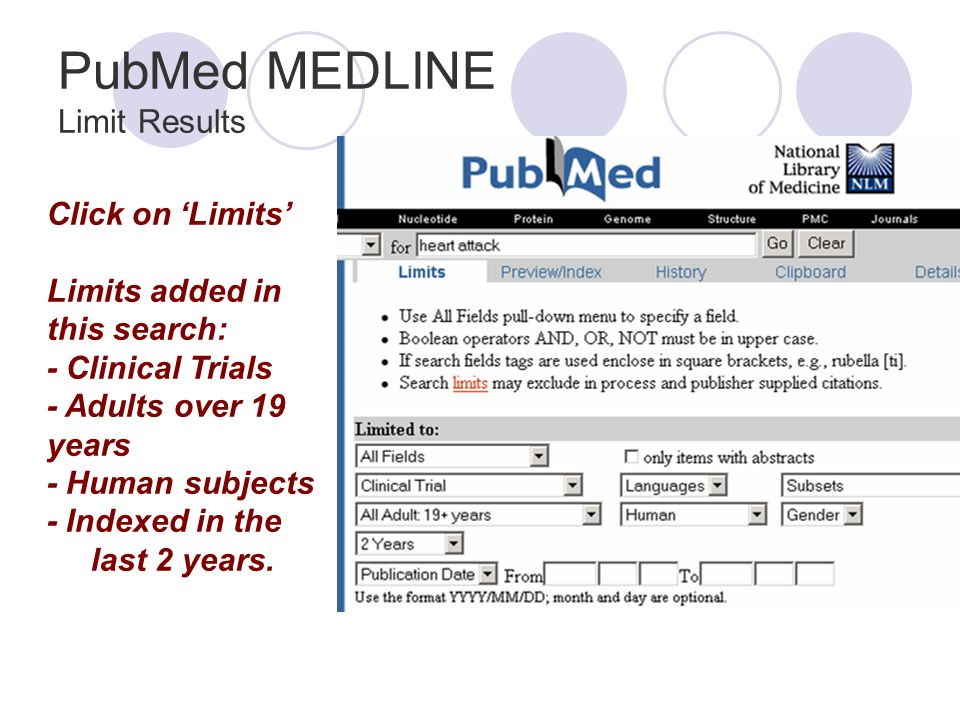 PubMed MEDLINE Limit Results