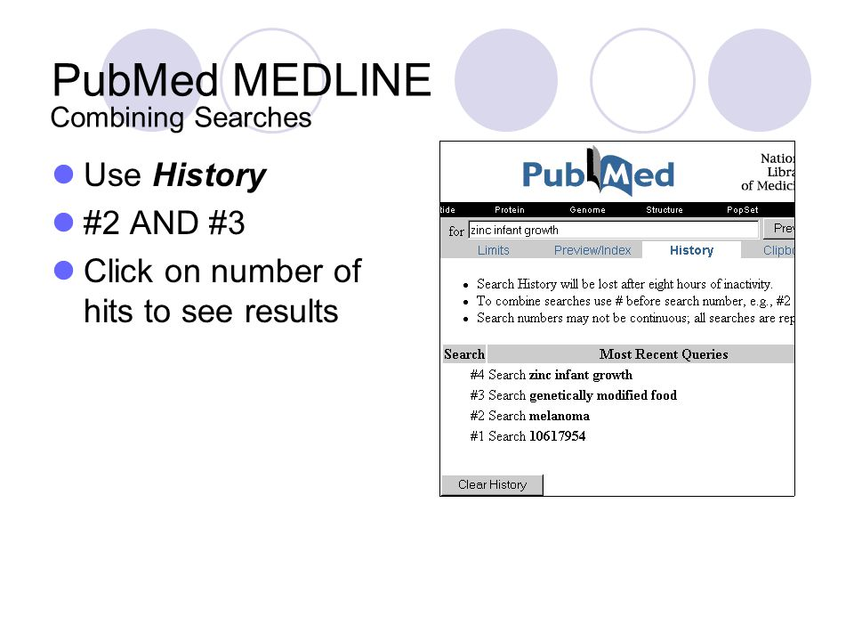 PubMed MEDLINE Use History #2 AND #3