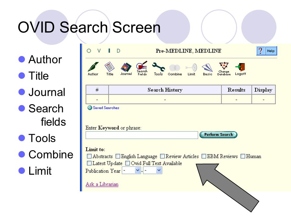 OVID Search Screen Author Title Journal Search fields Tools Combine