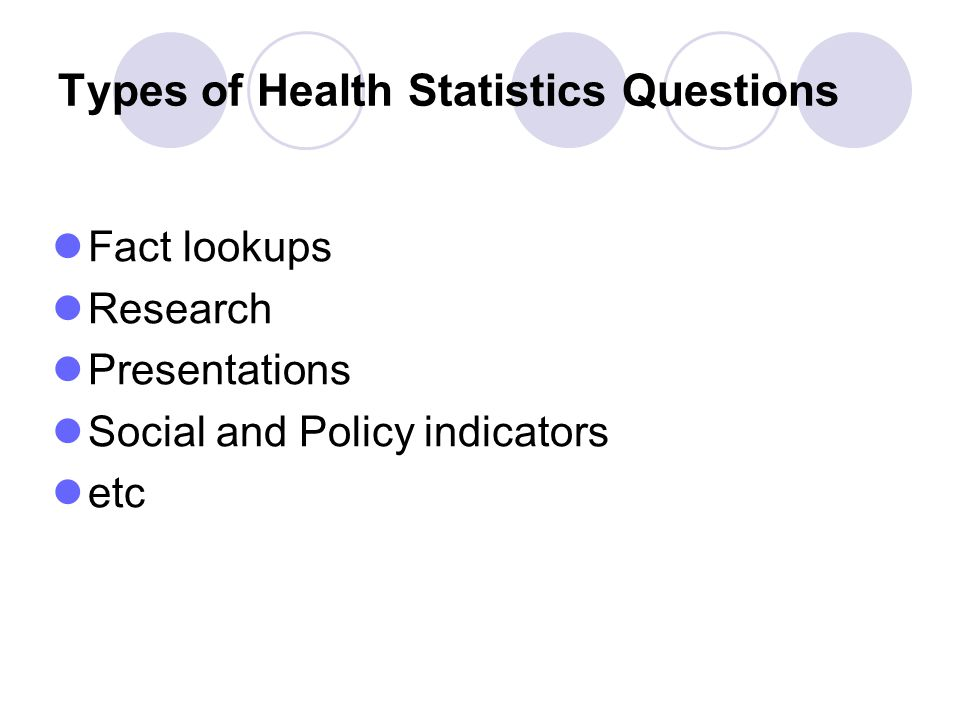 Types of Health Statistics Questions