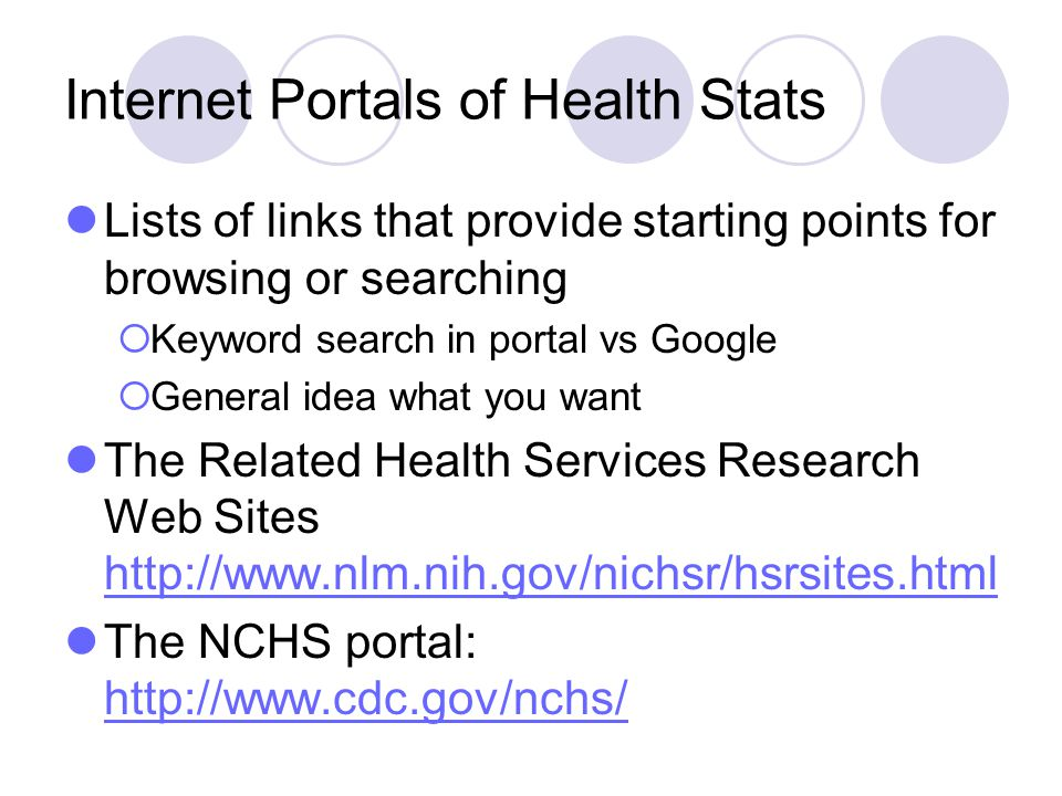 Internet Portals of Health Stats
