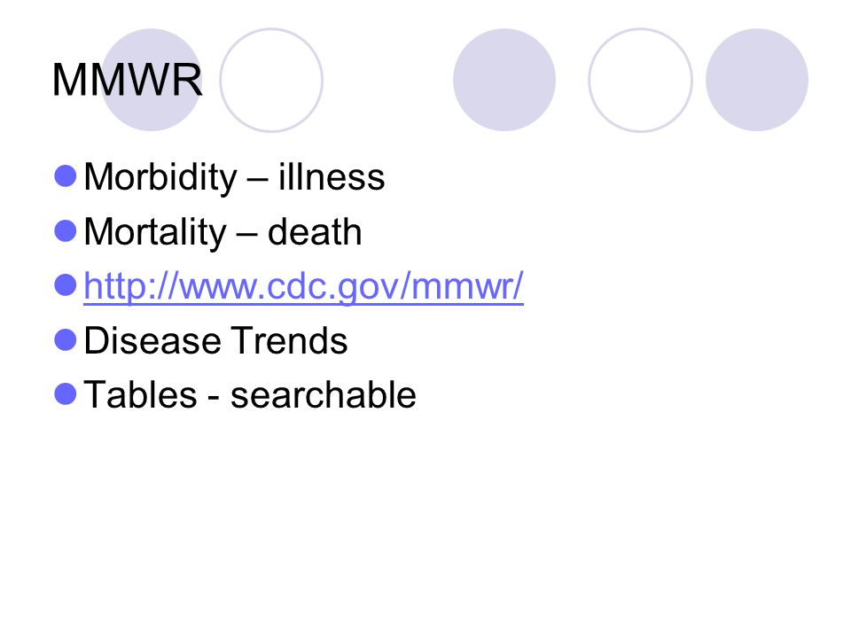 MMWR Morbidity – illness Mortality – death http://www.cdc.gov/mmwr/