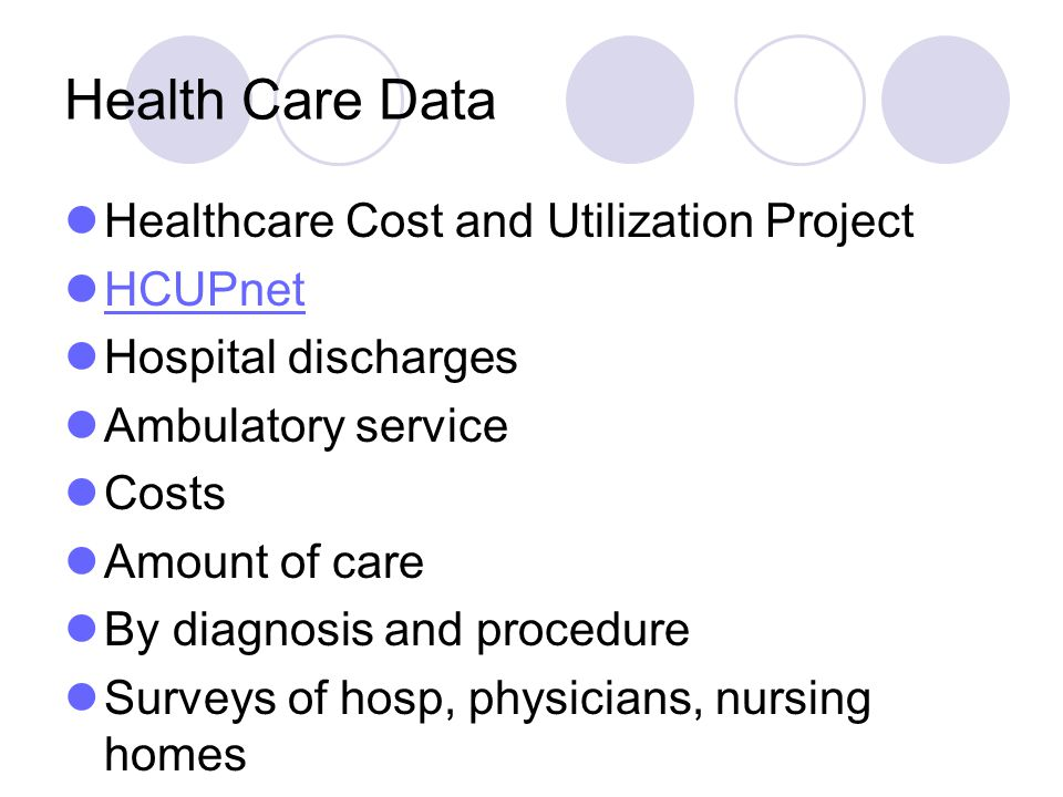 Health Care Data Healthcare Cost and Utilization Project HCUPnet