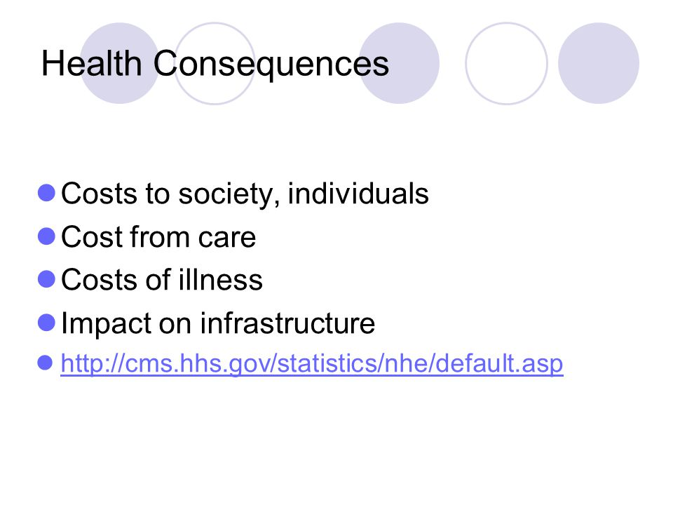 Health Consequences Costs to society, individuals Cost from care