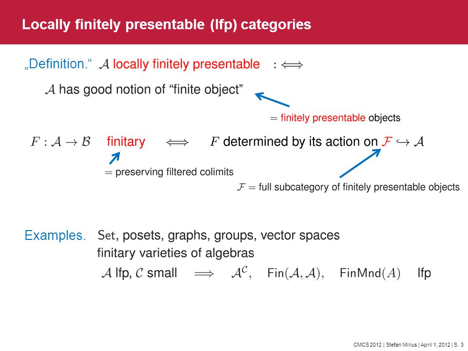 Locally finitely presentable (lfp) categories