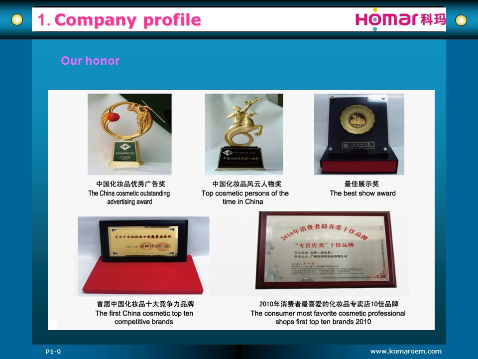 1. Company profile Our honor P1-9 www.komaroem.com