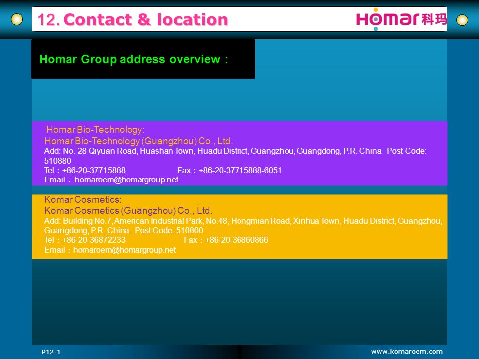 12. Contact & location Homar Group address overview: