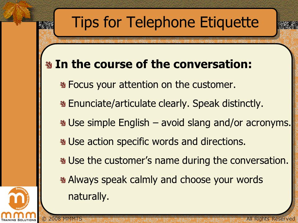 Tips for Telephone Etiquette