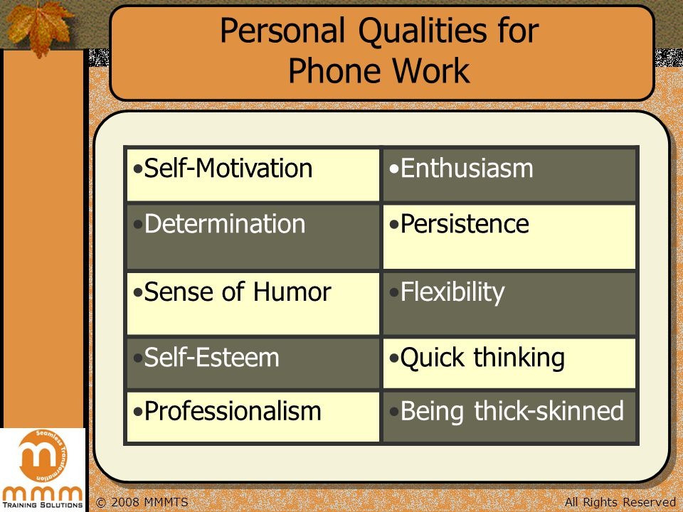 Personal Qualities for Phone Work