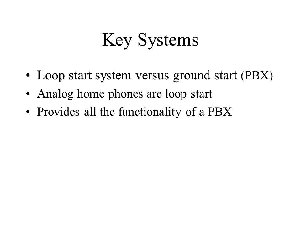 Key Systems Loop start system versus ground start (PBX)