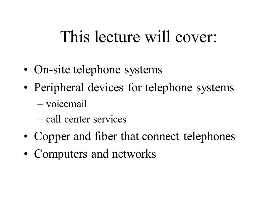 This lecture will cover: