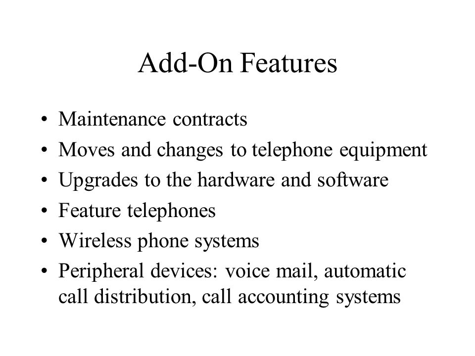 Add-On Features Maintenance contracts