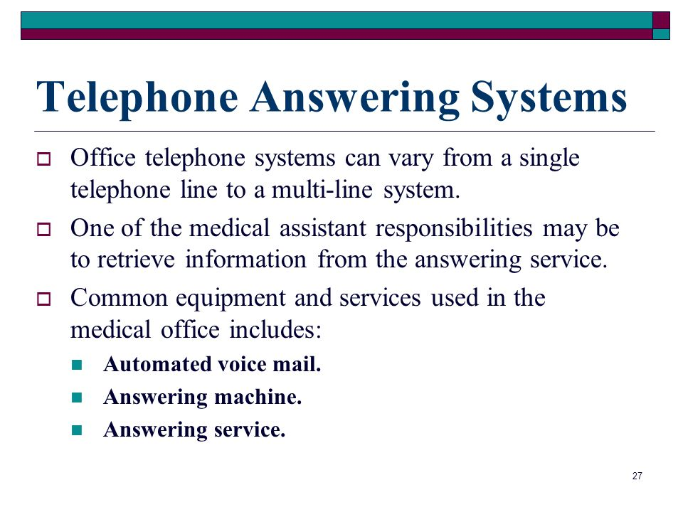 Telephone Answering Systems