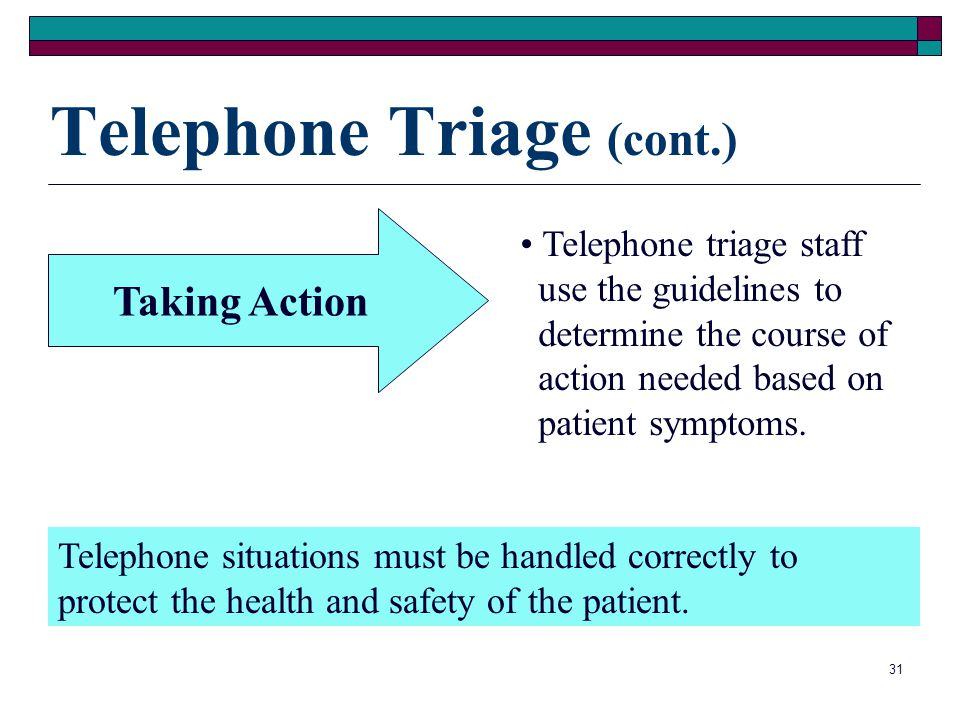 Telephone Triage (cont.)