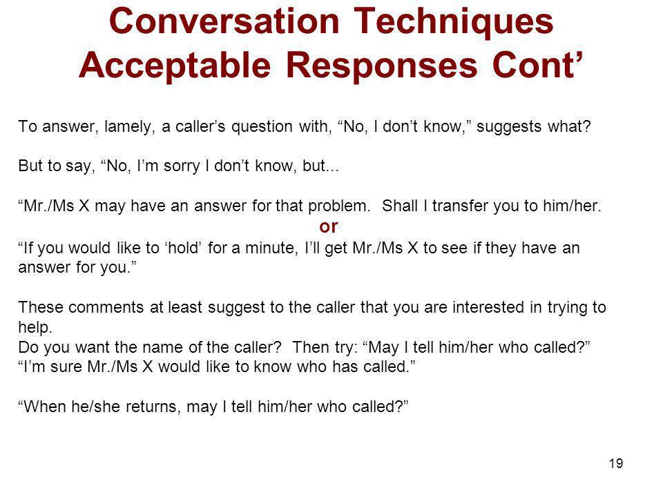 Conversation Techniques Acceptable Responses Cont'