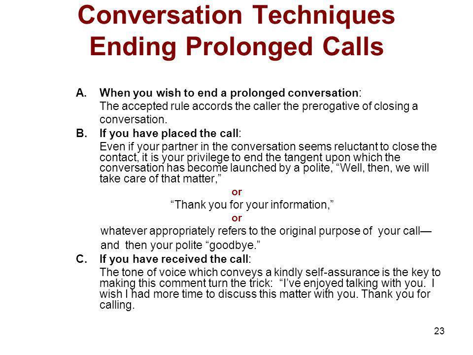 Conversation Techniques Ending Prolonged Calls
