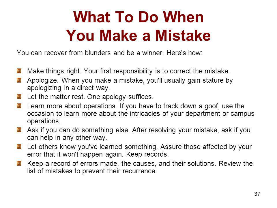 What To Do When You Make a Mistake